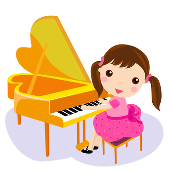 girl play the piano. cartoon vector illustration